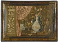 stilleben mit blumen in steinzeugvasen, obstschale, violine, ring und metallgegenständen auf einem tisch in einer nische by anonymous-italian