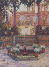 a courtyard with a fountain and flowers, portugal by ernest clifford peixotto