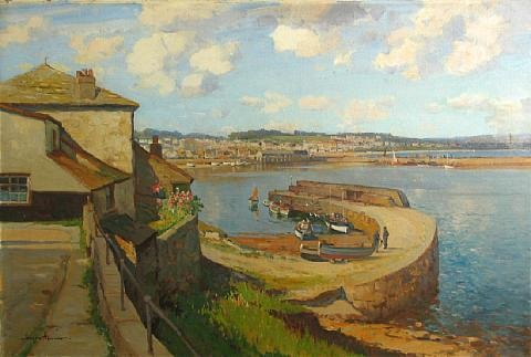 a view of the harbor at newlyn england by joseph edward hennah