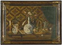 stilleben mit blumen in steinzeugvasen, pfauenfedern, einem obstkorb, waffen, sowie spiel- und schreibutensilien by anonymous-italian