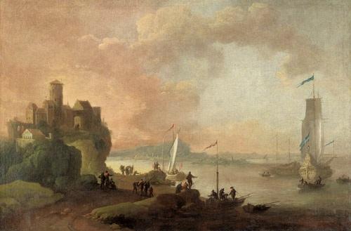 capriccio mit einer südlichen hafenstadt in der bucht eine galeone mit gesetzten segeln by jan abrahamsz beerstraten