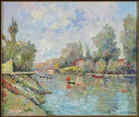 boaters on the river by henri stenn