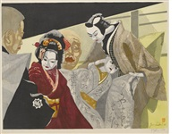 monjuro and jihei, of bunraku puppets (+ another; 2 works) by junichiro sekino