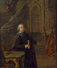 bildnis eines hofkapellmeisters an seinem arbeitstisch, im hintergrund musikinstrumente by johann jakob dorner the elder