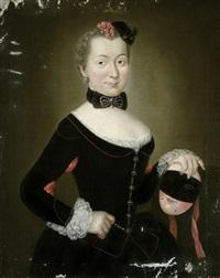 bildnis der henriette sophie christine von lüderitz, geborene von rochow, mit venezianischer karnevalsmaske by christian friedrich reinhold lisiewski
