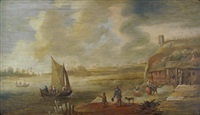 niederländische flusslandschaft mit kleinem segelboot by jan coelenbier