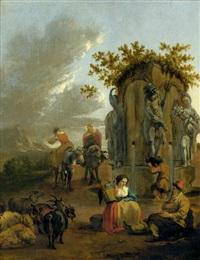 pastorale landschaft mit hirten an einem brunnen by adam de colonia