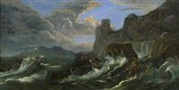 stürmische see mit kenternden segelschiffen vor einer felsenküste by pieter mulier the elder