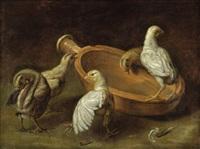 zwei hühner und drei küken an einem futternapf by jacob van der kerckhoven