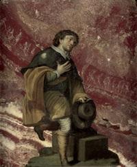 pilger mit jakobsmuschel, auf einem sockel kniend, die hand auf die brust gelegt by anonymous-italian-florentine (17)