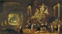 felsgrotte mit opferszene vor einer weiblichen gottheit by rombout van troyen