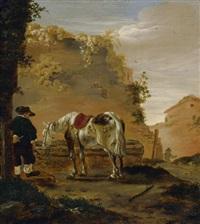 reiter mit seinem pferd an der tränke by pieter cornelius verbeeck