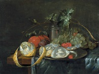 stilleben mit austern, trauben und einer geschälten zitrone by guilliam van deynum