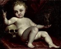 vanitasallegorie: knabe mit stundenglas und totenschädel by luca cambiaso
