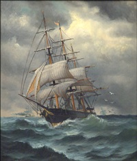 clipper ship at sea in distress by william torgerson