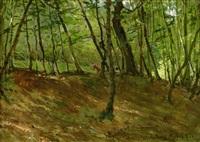 waldstück bei misdroy, hinter bäumen ein pferdewagen by wilhelm august lebrecht amberg