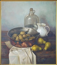 still life with pears and potatoes by henk bos
