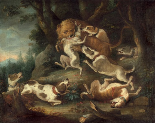 löwenjagd hundemeute von einem löwen zerrissen by carl borromaus andreas ruthart
