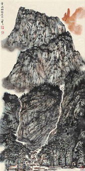 清山幽谷 镜心 设色纸本 by li xiaoke