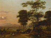 weite südliche landschaft mit einer rastenden hirtin bei ihrer herde by jan gabrielsz sonje