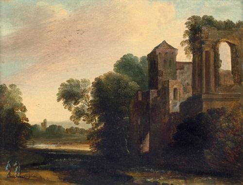 italianisante landschaft mit einer burgruine im vordergrund zwei landsknechte by pierre antoine patel