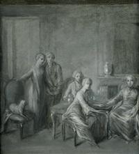 interieur mit kleiner tischgesellschaft by bernhard (christian bernhard) rode