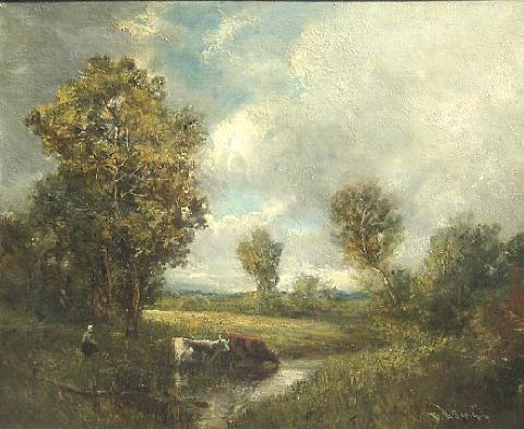 a landscape with cows by a stream by frederick j sang