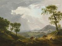 italianisante landschaft mit viehhirtin by jacob de heusch