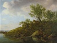 idyllische flusslandschaft mit boot und kleiner hütte by johanna mariane freystein