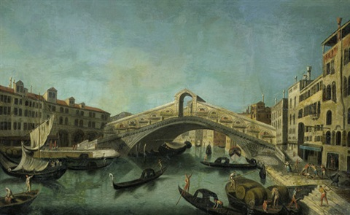 der canale grande mit der rialtobrücke by bernardo bellotto