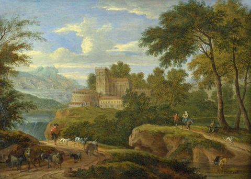 südliche flusslandschaft mit castell und hirten mit seiner herde by mathys schoevaerdts