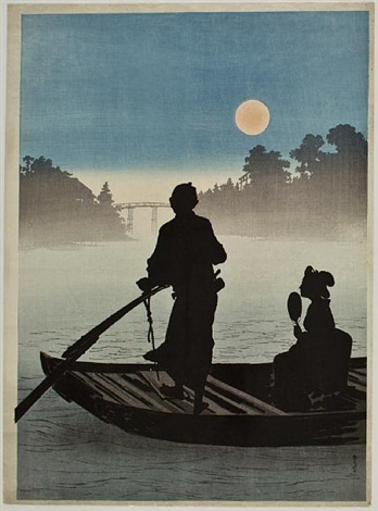 depicting a boat on the sumida river in moonlight by yoshimune arai