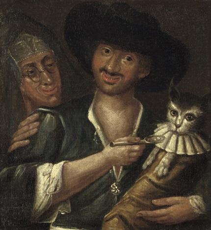 satirische darstellung mit einem mann der eine katze im wickelkleid füttert by giacomo francesco cipper