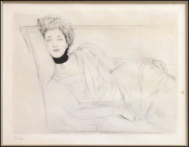 jeune femme allongee sur un canape by paul césar helleu