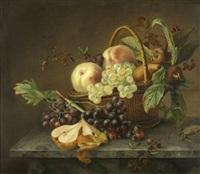 früchtestilleben mit pfirsichen, trauben, beeren und birnen by jeanne marie joséphine hellemans