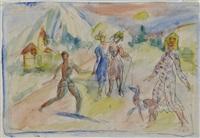 spaziergänger mit hund vor berglandschaft by ernesto de fiori
