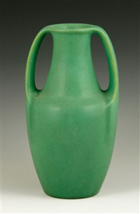 vase, matte green glaze, two arm form by fritz albert