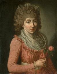 bildnis einer dame, eine rose haltend by anna rosina lisiewski
