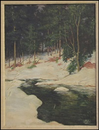 stream through winter landscape by willard leroy metcalf