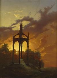 sonnenuntergang über dem gustav adolf monument von karl friedrich schinkel in lützen by johan kristofer boklund