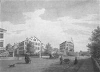 promenade mit bürgerhäusern in basel, im hintergrund der historische bahnhof by johann jakob schneider