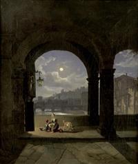 abendgebet auf dem ponte vecchio in florenz by johann josef rauch