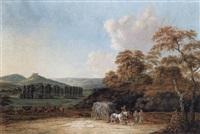 landschaft bei coburg, im vordergrund bauern, die von der heuernte heimkehren by friedrich rauscher