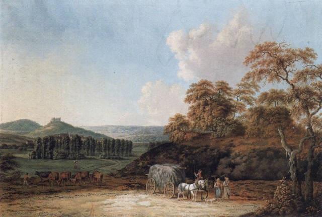 landschaft bei coburg im vordergrund bauern die von der heuernte heimkehren by friedrich rauscher