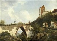 burgruine hammershus auf bornholm mit einem schäfer und seiner herde by danish school (19)