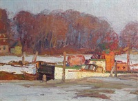 boats in a lock in winter by george a. renouard