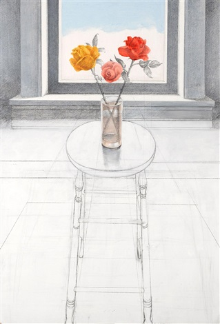 rose on a tall stool by paul john wonner