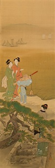 beauties with a boy holding a telescope by ogata gekko