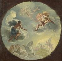 apollo und phaeton - entwurf für ein deckenfresko im palais liechtenstein in der rossau in wien by johann franz michael rottmayr