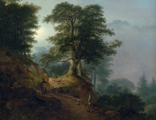 landschaft mit reiter und wanderern auf einem waldweg morgendlandschaft aus dem riesengebirge by friedrich georg weitsch